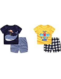 Guozyun Baby Boy's T-Shirt Short-Sleeve Short Set Cartoon Tees Pant Sets for Infant Toddlers Kids 6-48 Months 2 -Set