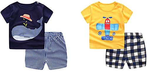 Cartoon T-shirt Baby - Baby Boy's T-Shirt Short-Sleeve Short Set Cartoon Tees Pant Sets for Infant Toddlers Kids 6-48 Months 2 -Set (6-12 Months, 2-Set)