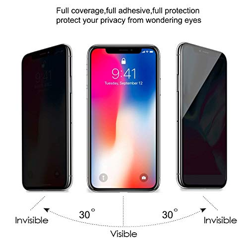 STRQUA iPhone X Privacy Screen Protector, Anti-Spy Tempered Glass Screen Protector for iPhone 10, Easy Install Bubble Free foriPhone XS/iPhone X