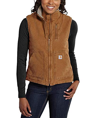Carhartt Women's Mock Neck Sherpa Lined Vest (Regular and Plus Sizes), Brown, XX-Large