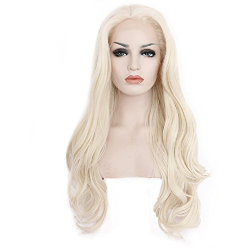Ebingoo Platinum Blonde Wavy Natural hairline Synthetic Lace Front Wig 22 inch (Platinum Naturals)