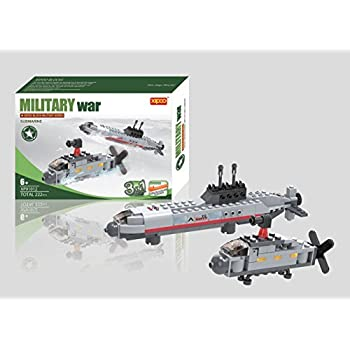 Navy Submarine with Helicopter 3 in 1 Building Blocks 222pc set Includes Action Figure – Great Gift for Children