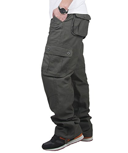 CRAZY Men's Cotton Loose Fit Cargo Workwear Pant Relaxed Fit Trousers [Apparel] Classic Low Rise Trousers