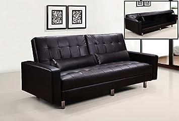 Frizzo divano letto contenitore cm ecopelle marrone posti