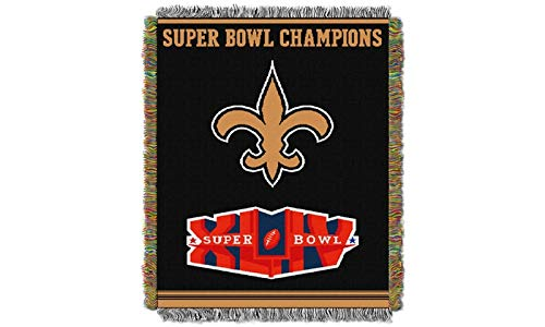 "Northwest 051 Series NFL New Orleans Saints Commemorative Woven Tapestry Throw, 48"" x 60"", Gold"