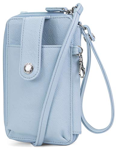 Wallet Purse Pouch - MUNDI Jacqui Vegan Leather RFID Womens Crossbody Cell Phone Purse Holder Wallet (Ice Blue)