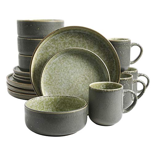 Gibson Elite Tosca Norwich Round Dinnerware Sets, Service for Four (16pcs), Olive Green