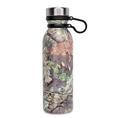 MOSSY OAK 20.5 Oz Stainless Steel Vacuum Insulated Water Bottle - Wide Mouth Leak-Proof Double Walled Cola Shape Bottle - Green Camo