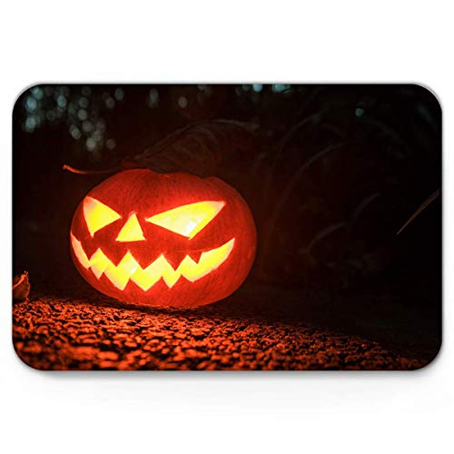 Non Slip bath Mat,Doormat Entrance Mats Home Decor,Horror Halloween Pumpkin Face Black and Orange Door Mat Rug,Fantastic Doormat for Indoor/Front Door/Bathroom Bedroom Mats,20 x 31.5 inch -