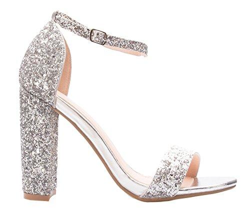 Silver K Pump Formal Strappy Wedding Party Simple Women's High Block Chunky Classic Heel Glitter Olivia w7Oqxw