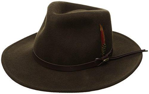 (Scala Classico Men's Crushable Felt Outback Hat, Olive, Large)