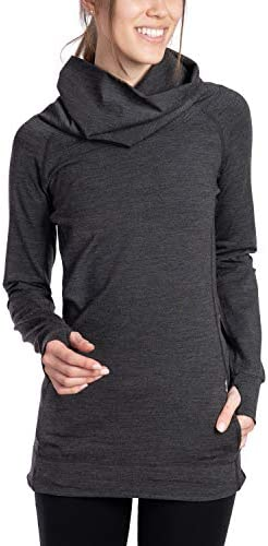 WOOLLY CLOTHING WOMEN'S MERINO WOOL COWL NECK PULLOVER - MID WEIGHT - WICKING BREATHABLE ANTI-ODOR