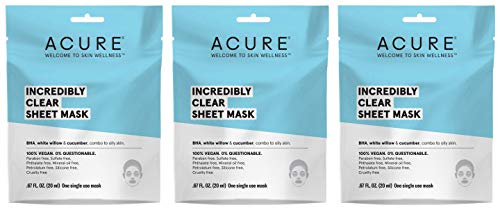 Acure Incredibly Clear Sheet Mask (Pack of Three) with White Willow, Cucumber, Oat Bran Extract. .676 fl. oz, 20ml