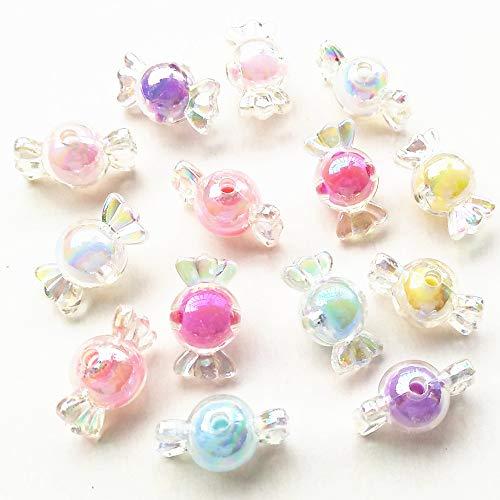 Qingxi Charm 56pcs Mixed 7 Colors Shiny AB Color Acrylic Candy Bow Bead Hairband Bracelets Necklace DIY Craft Embelishment (Mixed,56pcs) ()