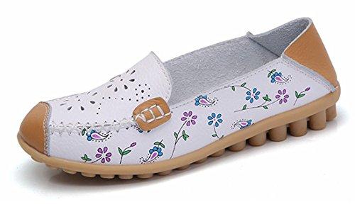 De Cuir A Casual Loafers Chaussures White Bateau Oriskey Femme Flats Ville Mocassins 0HEnx