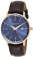 Akribos XXIV men's blue dial leather analog watch - AK1104RGBU-S