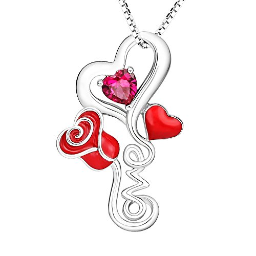 Apotie 925 Sterling Silver Charm Flowers Red Rose Love Heart Pendant Necklace Jewelry Gift for Girlfriend or Women or mom … - Red Flat Heart Charm