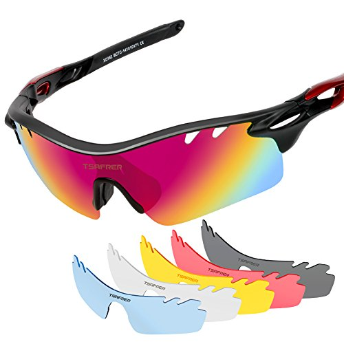 Tsafrer Polarized Sports Sunglasses with 6 Interchangeable Lenses for Cycling Driving Running - Sunglasses Interchangeable Sports