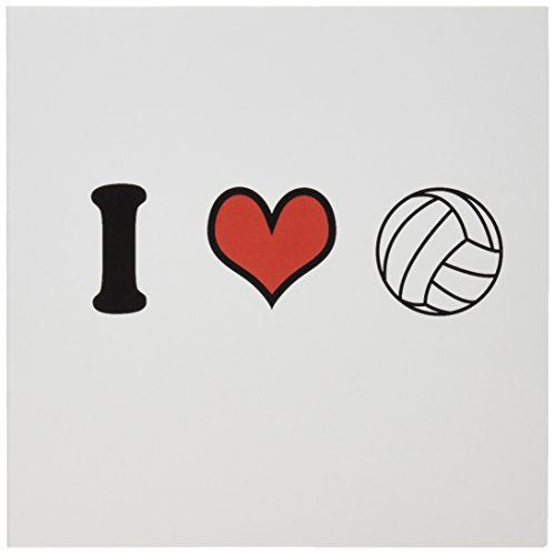 - 3dRose Set of 12 Greeting Cards, I love volleyball (gc_159653_2)