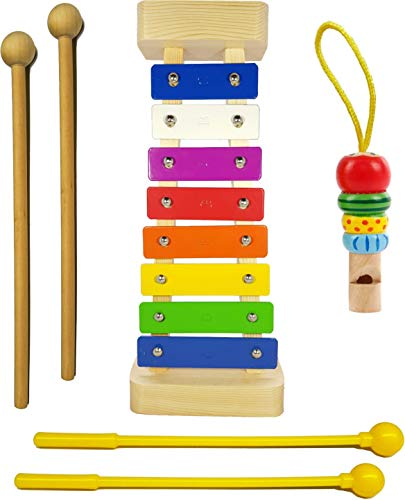 Xylophone for Kids: Glockenspiel Toy Best Holiday/Birthday Gift Idea - With(Four) Child-Safe Mallets 2 Wood 2 Plastic, 3 Music Card & Whistle Included