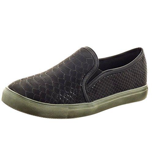 Sopily - Chaussure Mode Baskets Slip-On Cheville femmes Peau de serpent Talon bloc 2.5 CM - Noir