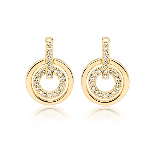 Circle Pave Luxurious Ring - MYJS Circle 16k Gold Plated Classic Earrings with Clear Swarovski Crystals