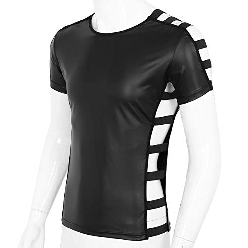 Agoky Men's Faux Leather T-Shirts Short Sleeve PU Muscle Tank Top Shirts Blouser Clubwear Black Medium