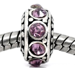 - Birthstone Spacer Bead Charm (June Alexandrite Light Purple)