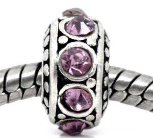 Birthstone Spacer Bead Charm (June Alexandrite Light Purple)