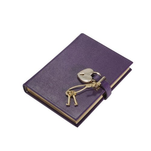 (Small Heart Lock Diary, Genuine Leather Hard Cover, 240 Lined Pages,)
