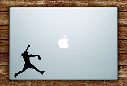 Softball Pitcher Silhouette Laptop Apple Macbook Car Quote Wall Decal Sticker Art Vinyl Inspirational Girls Sports Baseball