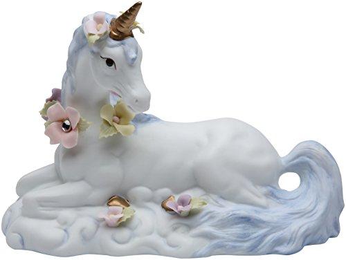 Cg 737-33 White Unicorn with Flowers Sitting Figurine ()