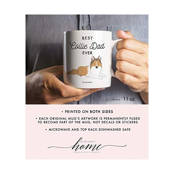 Best Collie Dad Ever Coffee Mug Gift Idea Father Daddy Loves Brown Tan Collie Family Pet Dog Shelter Adoption Animal Rescue 11oz Ceramic Tea Cup Christmas Birthday Present by Digibuddha DM0498 2