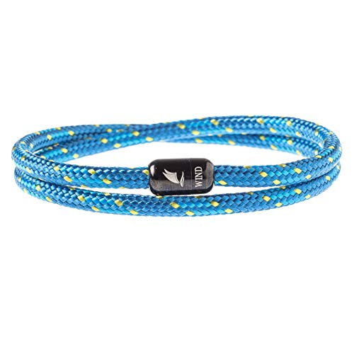 Wind Passion Durable Rope Cord Cuff Blue Bracelet with Magnetic Clasp for Men Women, XX-Large Size