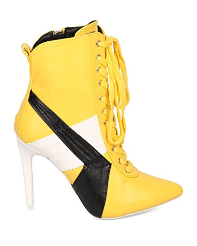 CAPE ROBBIN Women Lace Up Stiletto Bootie - Sports Stripe Bootie - Pointy Toe Ankle Boot - HK57 by Yellow Leatherette bxKUI6qN