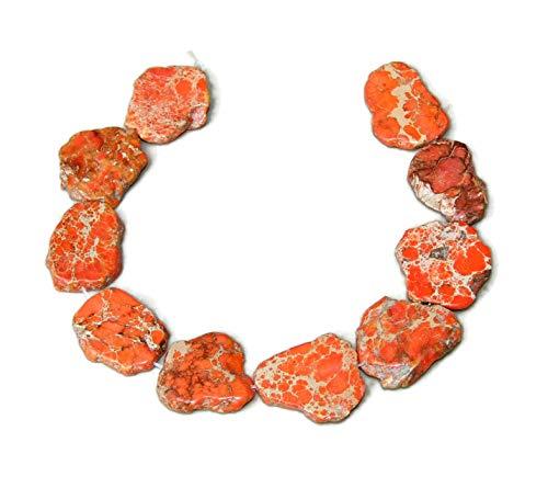 Orange Impression Jasper- Aqua Terra Jasper Bead - Imperial Jasper Slab Bead - Center Drilled - 15 Inch Strand - 30mm - 35mm