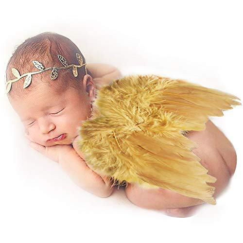 Amor Present Baby Angel Wings, Newborn Baby Gold Feather Angel Wings with Headband Infant Costume Photo Prop Outfit Easter April Fools Day Gift ()
