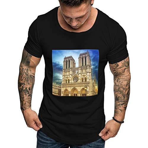 Men's Graphic T-Shirt -Men's Printing Tees T-Shirt Casual O-Neck Short Sve Slim Fit Muscle Top Blouse Black