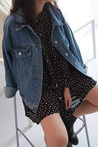 Oudan longues denim en petite la bleu à couleur décontractées bleu mode vestes taille femmes manches pour en à vrac et rq8ErTwX