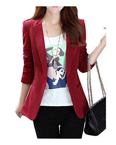 RS Womens Casual Basic Work Office Cardigan Tuxedo Blazer Boyfriend Jacket Wine XL/6 by RubySports Women Clothing