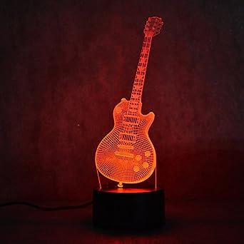 3d música guitarra eléctrica luz nocturna lámpara de ilusión 7 cambio de color LED Touch USB regalo niños juguetes mesa Decor decoración Navidad regalo de ...