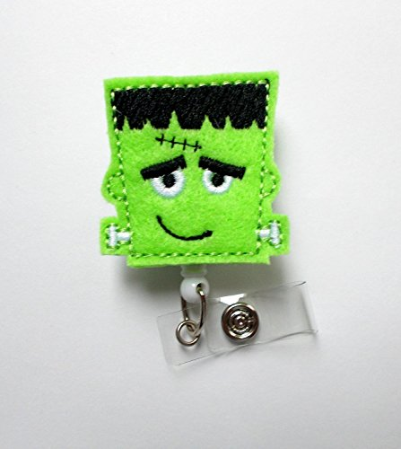 Frankie the Monster - Retractable ID Badge Reel - Name Badge Holder - Nursing Badge - Nurse Badge Holder - Nursing Badge Clip - Felt Badge- Alligator Clip