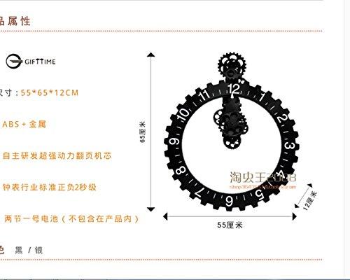 Retro wall gear clock, creative home mechanical wall clocks,20 inch silver by PINWEI (Image #2)