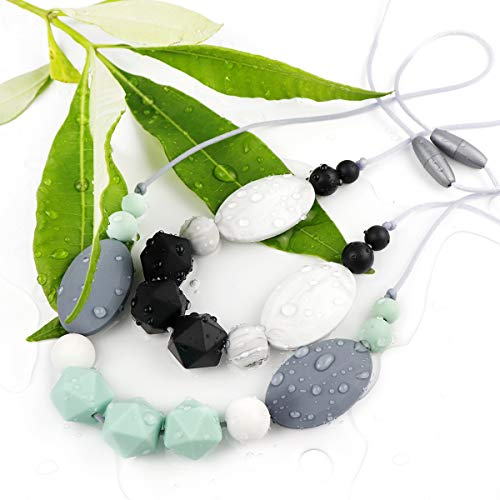 TUXEPOC Nursing Necklace for mom to wear Silicone Feeding teether Safe chew Beads for Babies Necklace bpa Teething Baby Calm Necklace (Black and White)