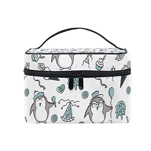 Balloon Funny Cute Penguin Travel Makeup Cosmetic Case Storage Bag Organizer Portable Adjustable Dividers for Cosmetics Makeup Brushes Cosmetic Case ()