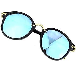 Sumery Vintage Retro Round Lens Delicate Arm Sunglasses Women UV400 4PCS (Black, Ice Blue)
