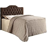 Upholstered Queen/Full Headboard in Coffee Velvet - Grayish Brown