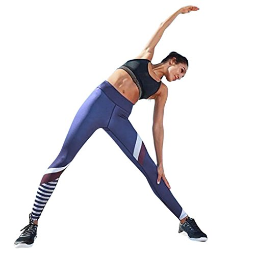 Challyhope Women Splice Yoga Skinny Running Workout Gym Leggings Fitness Sports Pants (M, Blue) ()