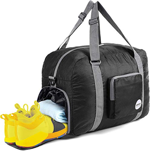 WANDF 18 Foldable Duffle Bag 40L with Shoe Compartment, for Luggage Sports Gym Water Resistant Nylon (Black)