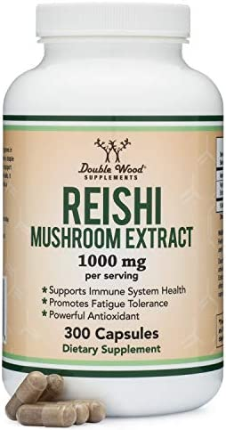 Reishi Mushroom Capsules 4 1 Ganoderma Extract, 1,000mg Reishi Powder Servings 300 Count, 5 Month Supply, for Immune System Support and Defense by Double Wood Supplements
